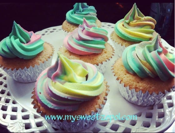 colorful frosting and cupcakes