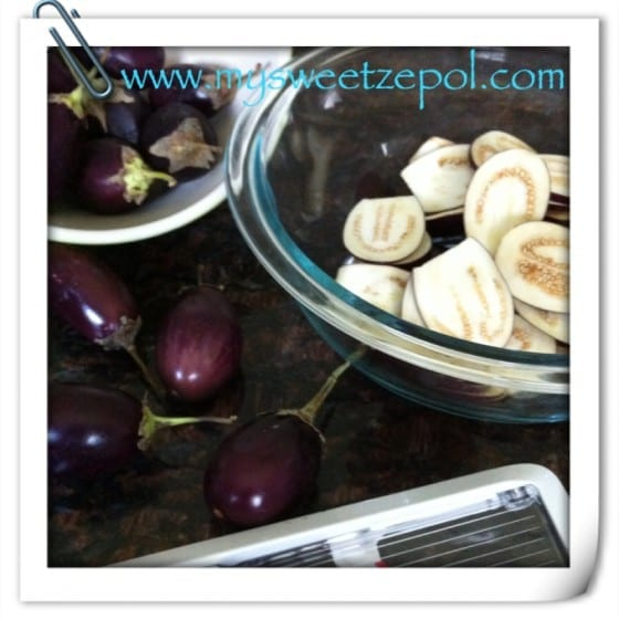 Eggplants, eggplants in slices, oxo slicer