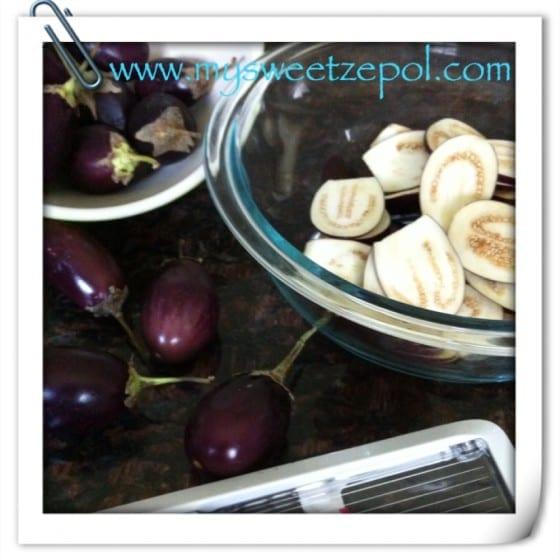 Eggplants, eggplants in slices, oxo slicer