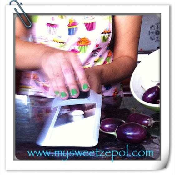 Slicing eggplants, eggplant slices
