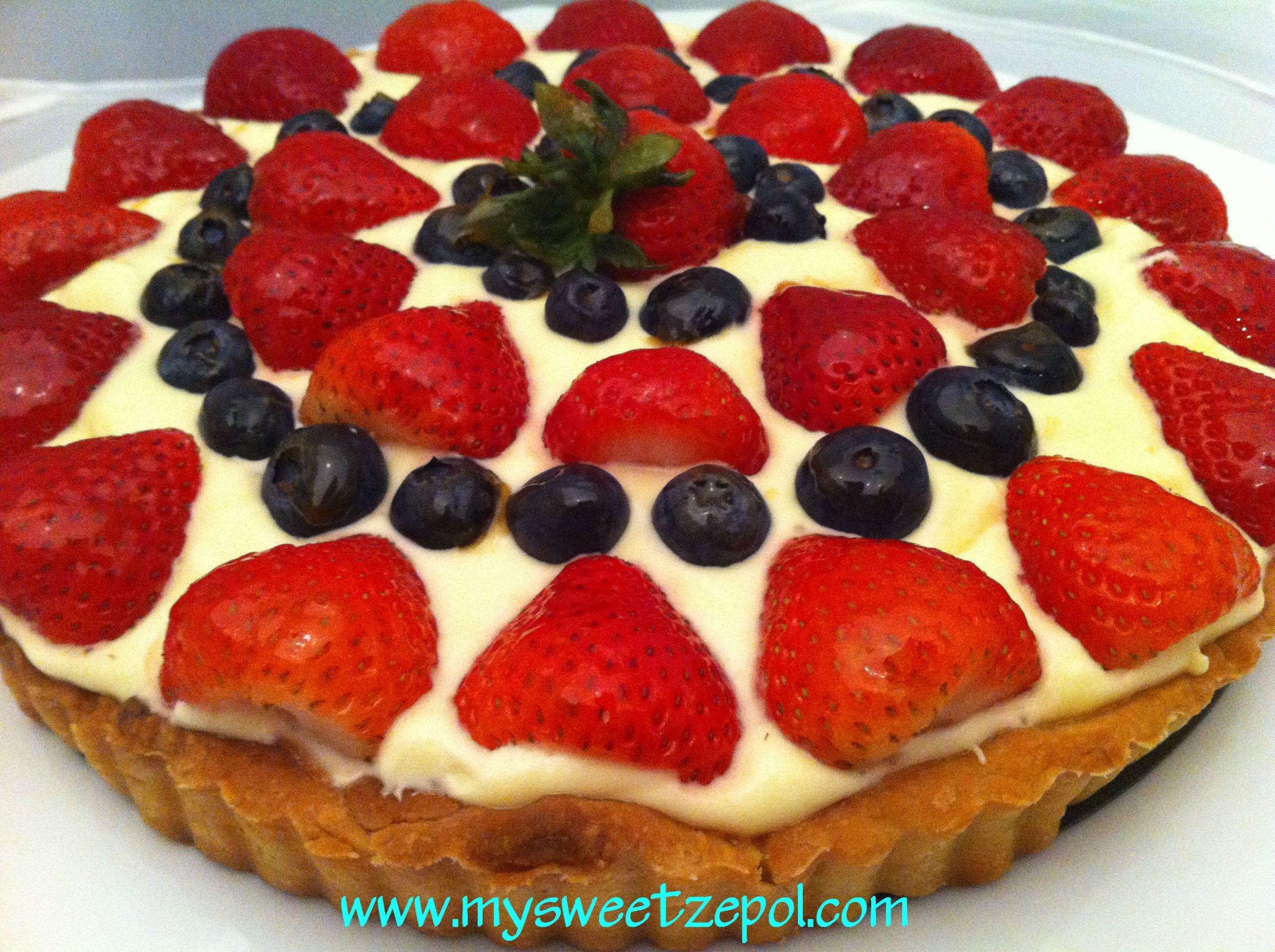 Fresh fruit on pastry, lemon cream tart, home made dough