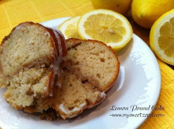 Lemon Pound Cake with lemon slices