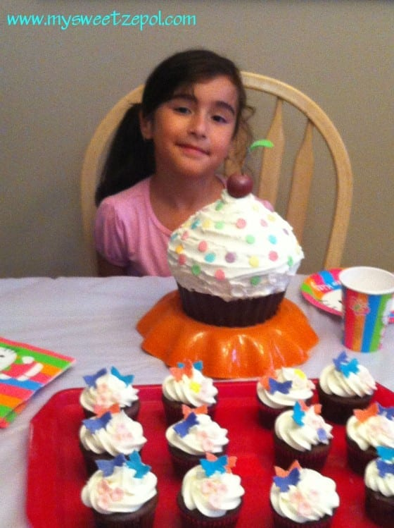 birthday cake, big cupcake with cherry on top