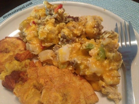 Cheesy-Sausage-Frittata-brunch-with-fried-plantains-my-sweet-zepol