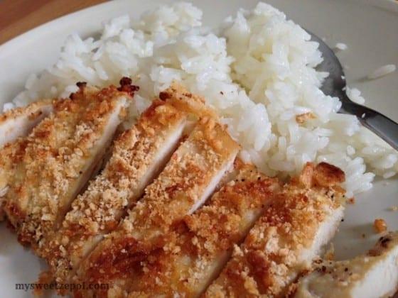 Parmesan-Crust-Chicken-with-Jasmine-Rice-my-sweet-zepol