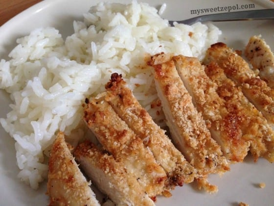 Parmesan-Crust-Chicken-with-Jasmine-Rice-mysweetzepol