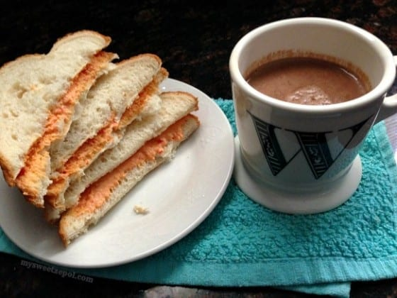Pimento & Roasted Red Peppers Cheese Spread with hot cocoa / #MSZrecipes / by My Sweet Zepol