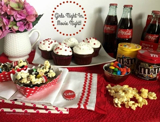 Girls Night In, Movie Night! Coca-Cola Chocolate Cupcakes and Peanut M&M'S® Popcorn Bark with a lovely red and white decor. Let's not forget the colorful candies, perfect for snacking during any movie. #MakeItAMovieNight #CollectiveBias [ad] by My Sweet Zepol - blog