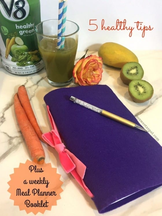 5 Healthy Tips & a Weekly Meal Planner Booklet / #V8LlenodeSabor #CollectiveBias ad / by My Sweet Zepol / DIY