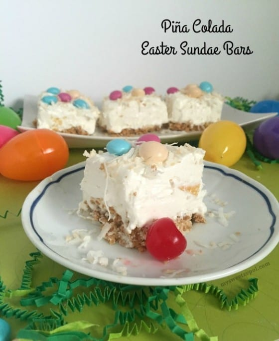 Piña Colada Easter Sundae Bars / smooth no bake cheesecake with a tropical flavor combination topped with limeted time M&M's Easter Sundae flavor / only available in Walmart / #SweeterPascua #CollectiveBias ad / by My Sweet Zepol