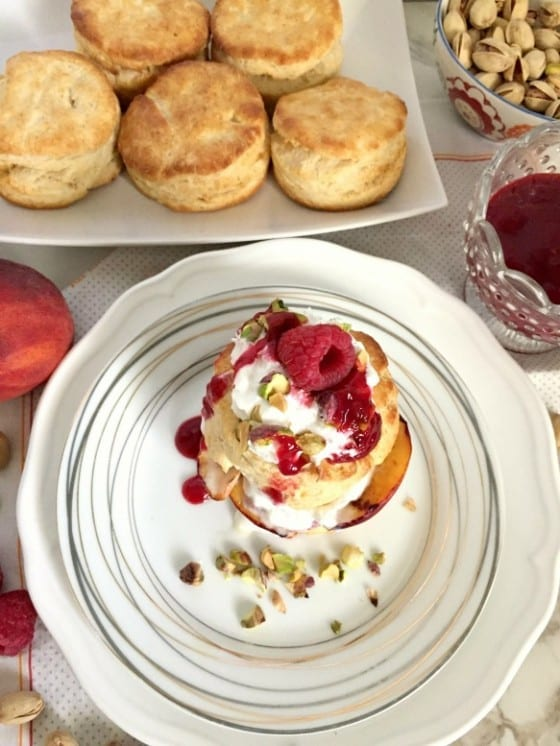 Grilled Peach Shortcake drizzled with Raspberry Sauce and Pistachios ...