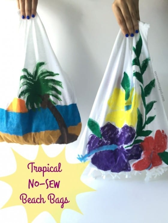Tropical No-Sew Beach Bags / perfect size bag for all the extras your kids want to bring along for the ride / hand painted t-shirts and turned into bags without the hassel of sewing it / perfect kids project / #BringTheTropicsHome #CollectiveBias ad / by My Sweet Zepol blog #DIY