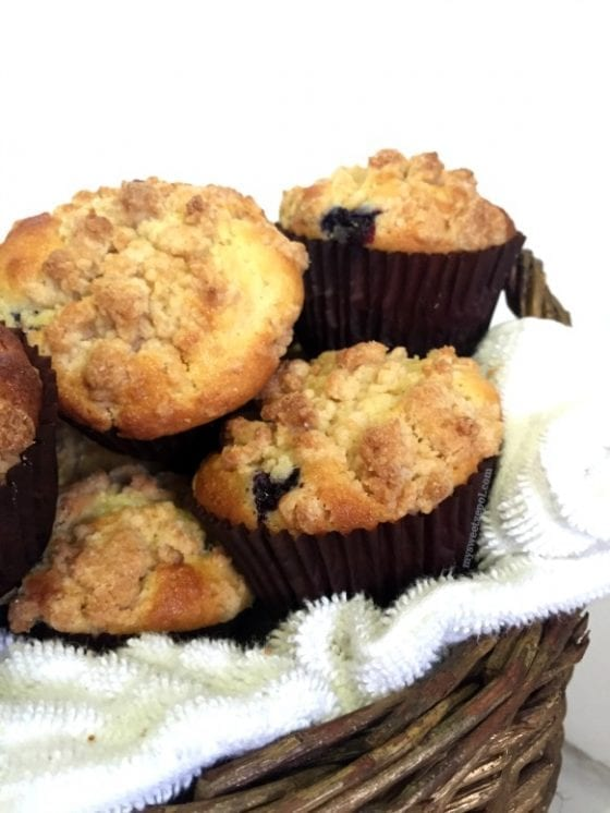 Lemon Blueberry Crumb Muffins, soft and moist muffins with citrus and tangy flavors. Super easy to make and perfect with a hot cup of coffee. by My Sweet Zepol #foodblog