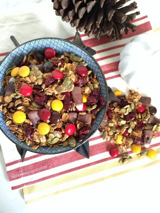 Do you love fall flavors, smells and colors? I do! Here is a great Harvest Trail Mix recipe for you to make at home, perfect for those long fall afternoon outdoors activities. Enjoy healthy snacking all day long. / recipe by My Sweet Zepol #foodblog #fallrecipe