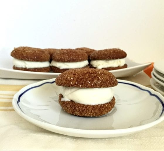 Molasses Ice Cream Sandwich Cookies, a holiday clasic cookie with a fun twist making these cookies a perfect combination for the holidays.