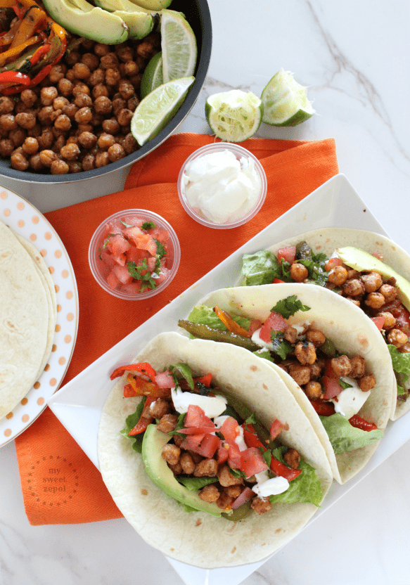 Roasted Chickpea meatless Fajitas perfect for Lent season and everyday ...