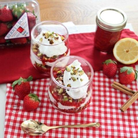 Strawberry Compote Pavlova Parfaits