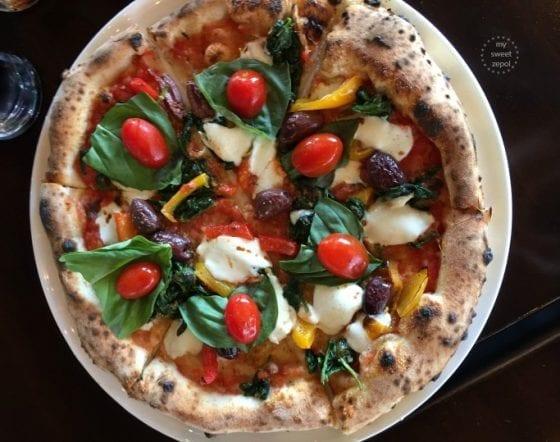 Pizza Primavera with some custome resquests from MidiCi The Neapolitan Pizza Company in Central Florida, read more at mysweetzepol.com
