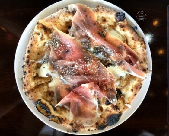 Truffle and Prosciutto di San Daniele Pizza from MidiCi The Neapolitan Pizza Company in Central Florida, read more at mysweetzepol.com