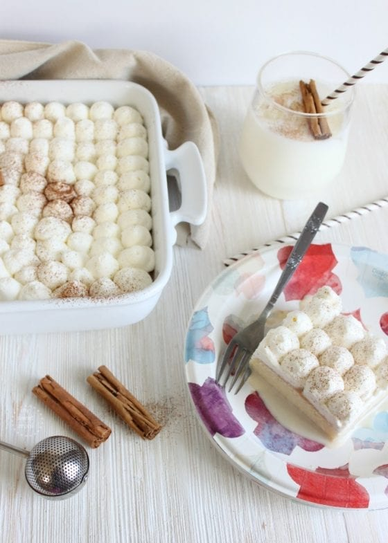 Horchata Tres Leches Cake is the best summer dessert, specially for large gatherings. Make ahead and serve in a Dixie plate making it a stress free dinner party time after time. More at mysweetzepol.com #SummerSoStrong #CollectiveBias ad