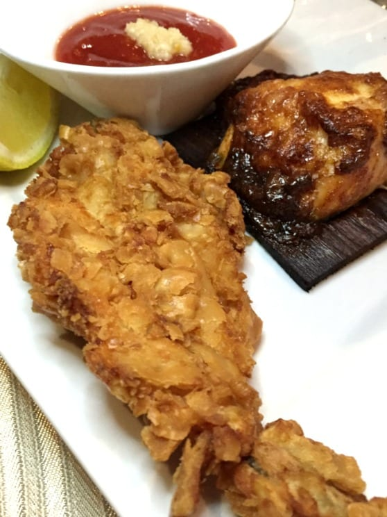 Cedar Plank Salmon and Fried Shrimp from Fish Bones Talk of the Town #SupportLocalEatLocal find more delicious food at @mysweetzepol.com