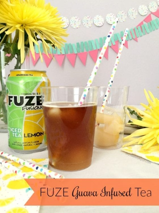 FUZE Guava Infused Tea is going to blow your mind away. Only two ingredients and you'll be impressing everyone with this flavor combination! Happy entertaining! recipe @ mysweetzepol.com #SummerRefreshment #Publix #CollectiveBias AD