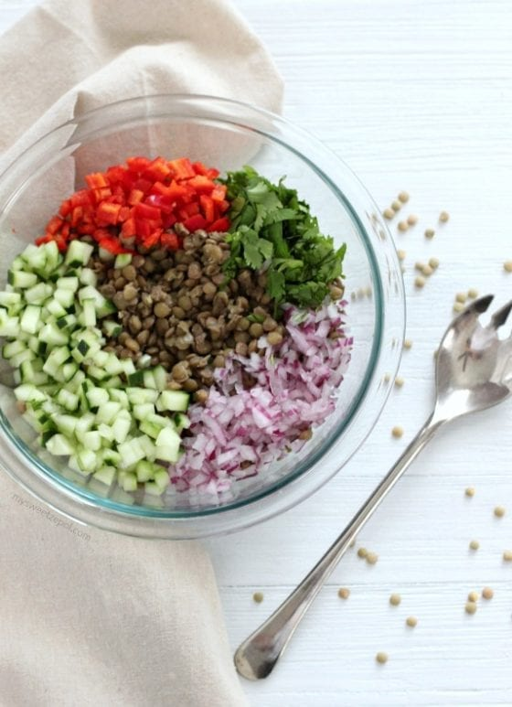 Make healthy lentil salad and enjoy it any time of the year. Super easy to make and so good for you!