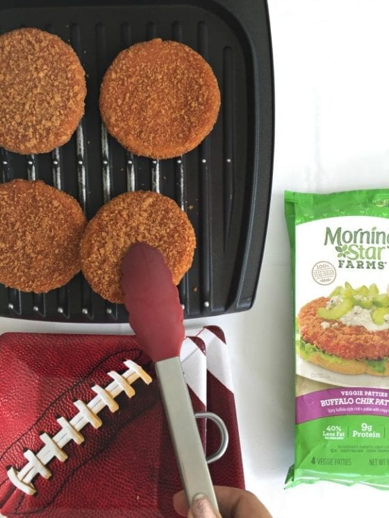 MorningStar Farms Buffalo Chick Patties are the best, grill them and get everyone together for an at home tailgating party during game season! #TailgateWithATwist #SeasonalSolutions #CollectiveBias ad (Winner Veggie Pulled Pork Phylo Cups for Tailgating Season)