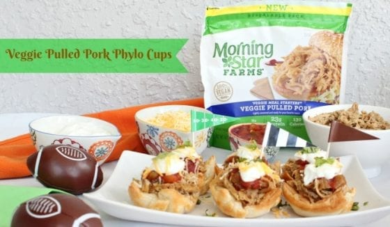 A winner recipe perfect for tailgating season! Veggie Pulled Pork Phylo Cups, super easy to make, good for you and a favorite for the entire family. #TailgateWithATwist #SeasonalSolutions #CollectiveBias ad (Winner Veggie Pulled Pork Phylo Cups for Tailgating Season)