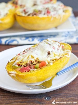 Simple Beef-Stuffed Spaghetti Squash, a perfect fall recipe. #ProduceForKids ad