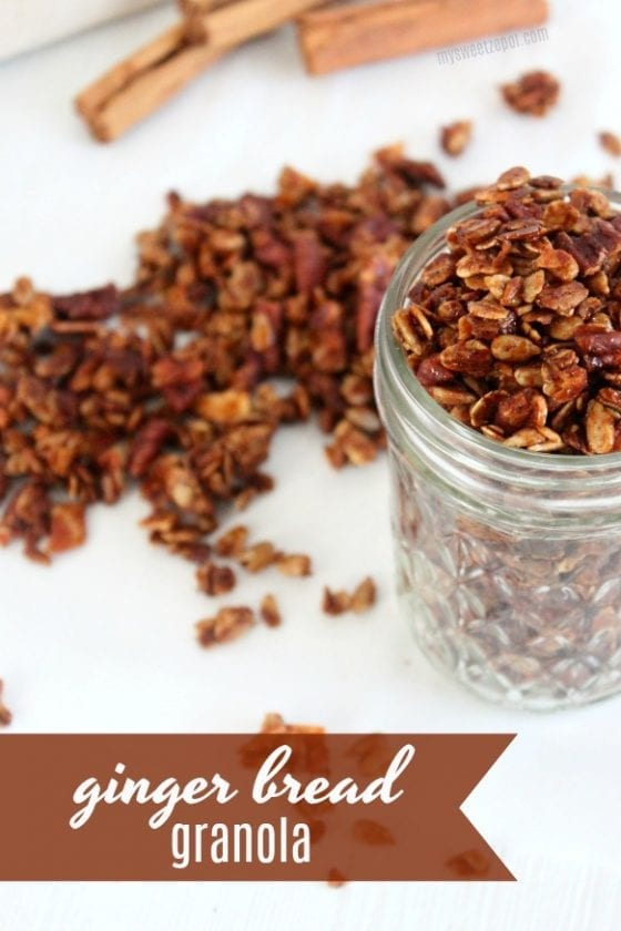 Love ginger bread? Then you'll love this super easy to make ginger bread granola that will keep you on track during the busy days. Grab the recipe at mysweetzepol.com #granola