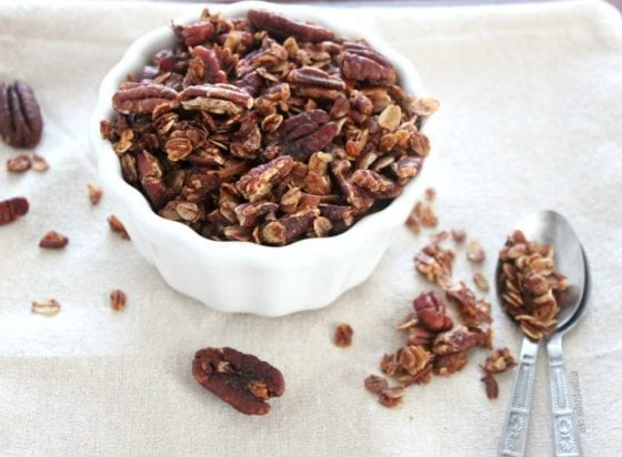 Granola is easier to make than most think and this take on one of my favorite pies is AMAZING! Pecan pie granola is out of this world...GOOD! Grab the recipe at mysweetzepol.com #healthy