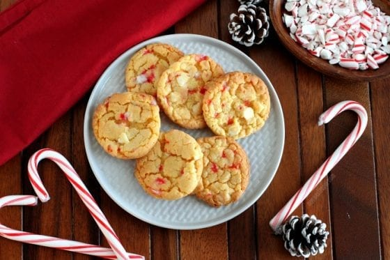 White Chocolate Chip Candy Cane cookies, perfect for Santa Claus with a glass of cold milk