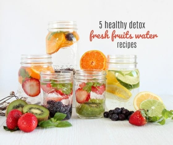 5 Healthy Detox Water Recipes with Fresh Fruits. Grab them at mysweetzepol.com #detoxing #healthyliving
