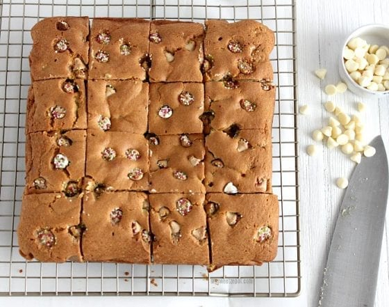 Make this white chocolate winter blondies, drizzle some more white chocolate over and enjoy! Grab the recipe at mysweetzepol.com #blodies