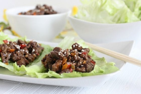 The slightly spicy homemade sriracha soy sacue is the perfect topping for this asian beef lettuce wraps. Grab the recipe and make this dish today @ mysweetzepol.com AD #CollectiveBias