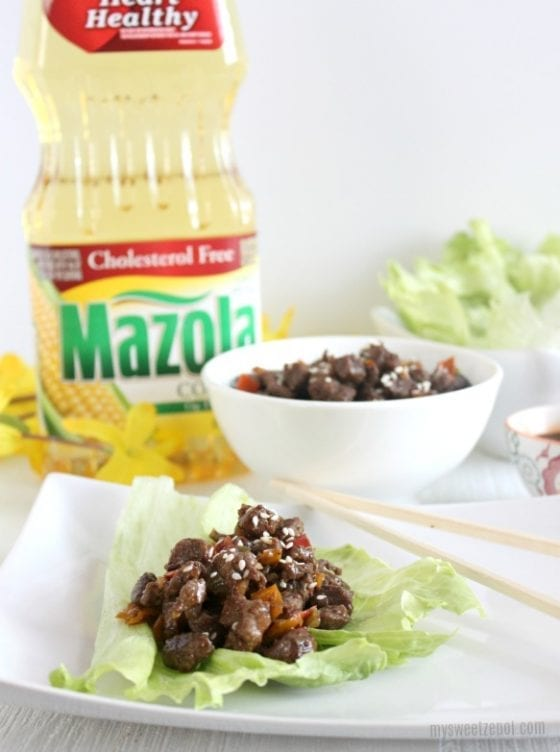 There's no better way to make this Asian Beef Lettuce Wraps than with Mazola® Corn Oil. Grab the recipe at mysweetzepol.com and make it today! You'll thank me later. AD #CollectiveBias