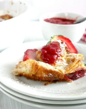 Strawberry and Cream Croissant Bread Pudding with Homemade Strawberry Compote