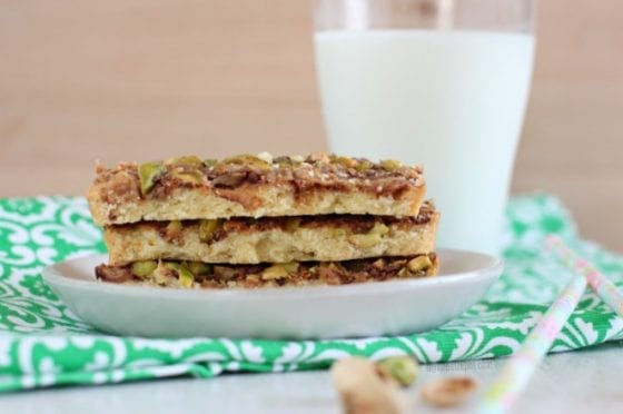 Grab this Pistachios Toffee Shortbread Bars recipe in mysweetzepol.com and make them asap. You'll love how easy they are to make and how amazing this shortbread bars tastes, specially with a tall glass of cold milk! #shortbread #cookierecipe
