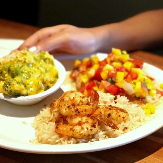 Blackened Salmon with Mango Salsa and Grilled Shrimp over rice and broccoli cheese casserole Cheddar's Restaurant summer menu
