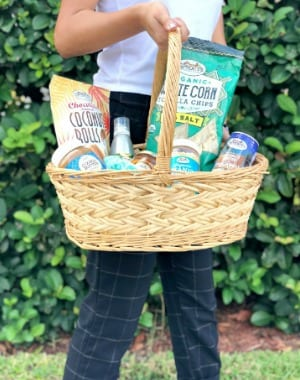 Basket filled with Sprouts Farmers Market goodies