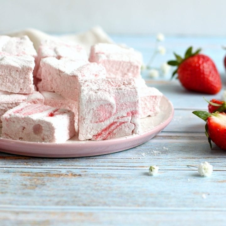 Homemade Strawberry Swirl Marshmallow