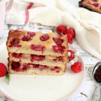 Raspberry Custard Bars with an almond crust
