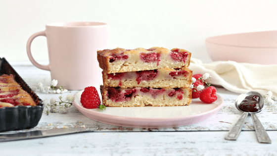 Raspberry Custard Bars with an almond crust