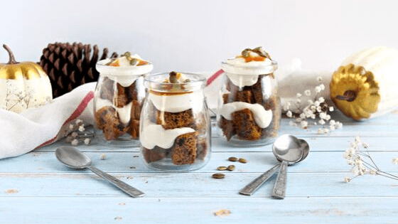 homemade Mini Pumpkin Spice Trifles for easy entertaining made by My Sweet Zepol / Wanda Lopez