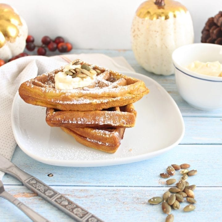 Pumpkin Waffles with Orange Cream Cheese