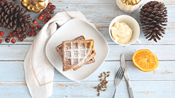 homemade Pumpkin Waffles with Orange Cream Cheese #PumpkinWeek