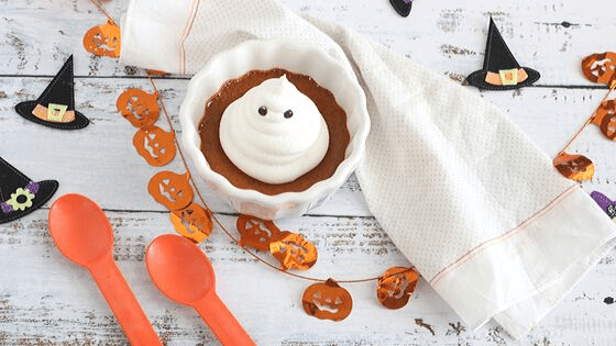 Ghostly Pumpkin Custards is a wonderful entertainment dessert #HalloweenTreatsWeek
