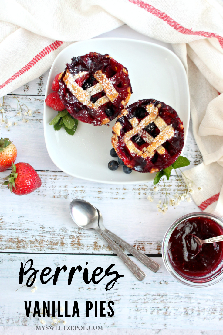 Berries vanilla pies are best when topped with an ice cream scoop! Summer taste in each bite! Creamy, crunchy and tangy filled with berries. Making it a great treat or dessert for any occasion, including #backtoschool season. #BackToSchoolTreats Grab more recipes like this one at mysweetzepol.com