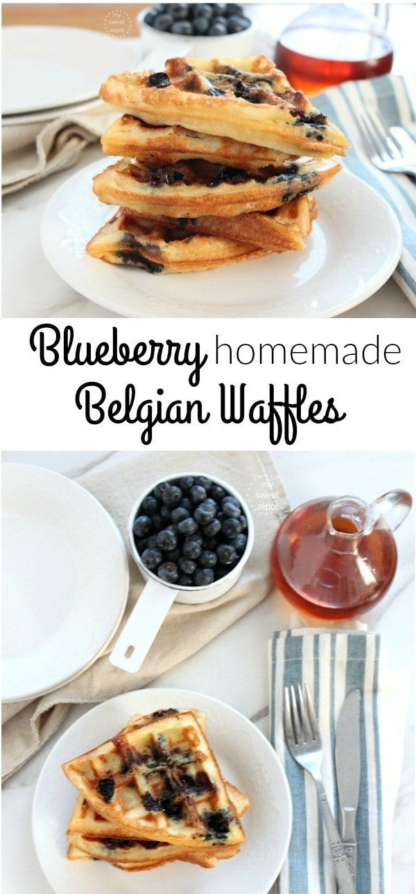 Blueberry Homemade Belgian Waffles - My